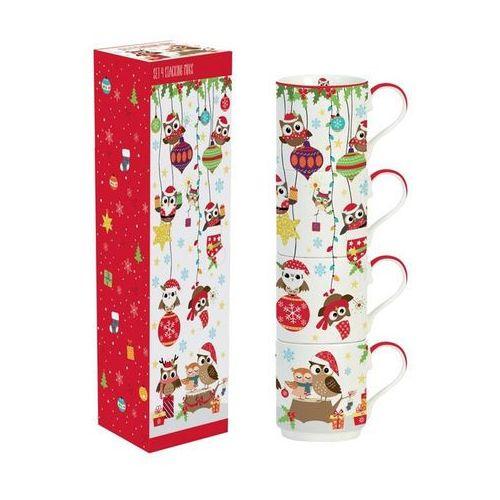 Zestaw 4 świątecznych kubków z sowami 350 ml w pudełku