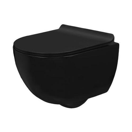 CARLO MINI RIMLESS SLIM BLACK Miska WC wisząca bezrantowa + deska wolnoopadająca czarny mat (5902557335213)