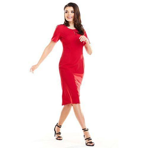 82f711a814 Czerwona elegancka dopasowana midi sukienka z krótkim rękawem