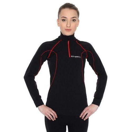 Brubeck ls01040 bluza damska krótki suwak czarno-czerwona