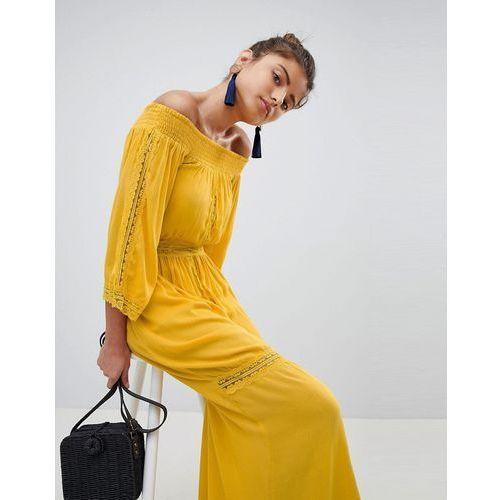 Boohoo Lace Insert Bardot Maxi Dress - Yellow, kolor żółty