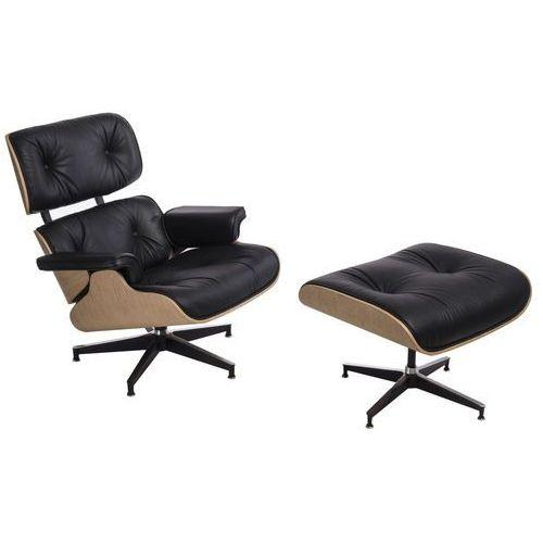 Fotel Vip z podnóżkiem czarny/natural oak/standard base (5902385723435)
