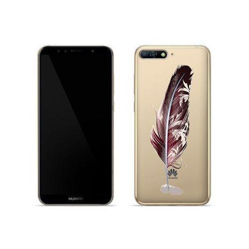 Huawei Y6 (2018) - etui na telefon Crystal Design - Bordowe pióro, ETHW710CRDGDG047000