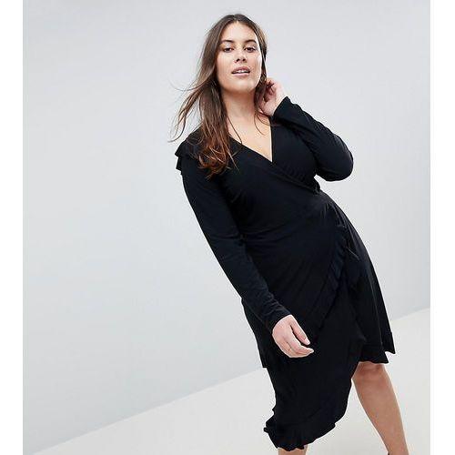 ASOS CURVE Frill Detail Wrap Dress - Black, kolor czarny