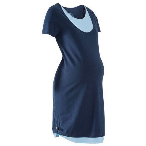 Sukienka ciążowa i do karmienia z dżerseju bonprix ciemnoniebiesko-jasnoniebieski, w 8 rozmiarach