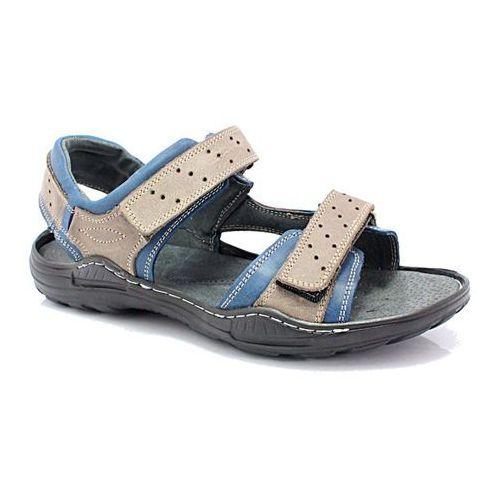 295 szary-niebieski - męskie sandały skórzane - szary ||niebieski, Kent