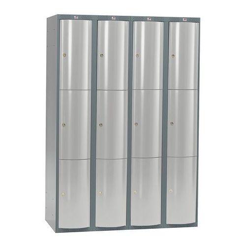 Metalowa szafa ubraniowa curve, 4x3 drzwi, 1740x1200x550 mm, szary marki Aj produkty