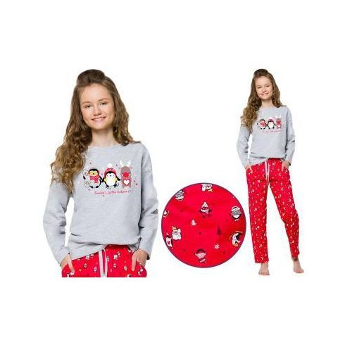 Piżama dziecięca sofia: szary/czerwień marki Taro