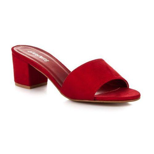 Zamszowe klapki - odcienie czerwieni, Laura mode