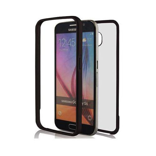 Czarne Aluminiowe etui bumper mirror ramka plecki przezroczyste Samsung Galaxy S6 - Czarny