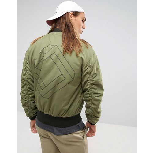 ASOS Oversized Bomber Jacket With Ruche Detail and Back Print in Khaki - Green
