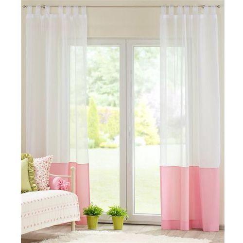firana na szelkach z wstawką z tkaniny, różowa w kropeczki, 130x260cm, ashley marki Dekoria