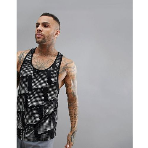 vest with extremer racer back and all over reflective print - black, Asos 4505
