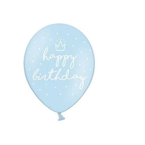 BALON HAPPY BIRTHDAY PASTELOWY BŁĘKIT 30cm 1/6 (5902230744547)
