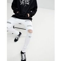 super skinny jeans in white with distressing - white, Sixth june