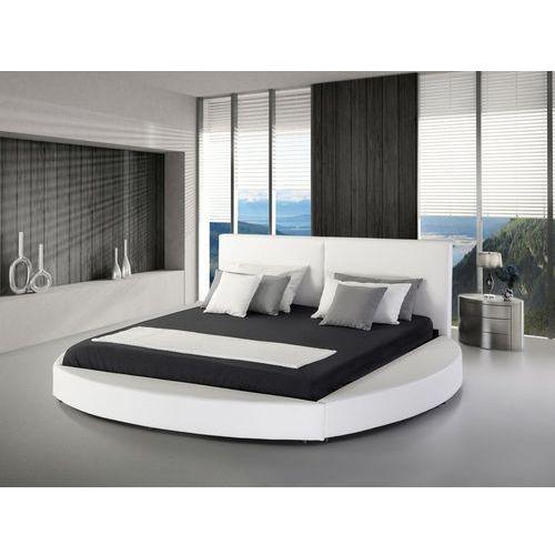 Nowoczesne łóżko skórzane białe - 180x200cm - ze stelażem - LAVAL (4260580931927)