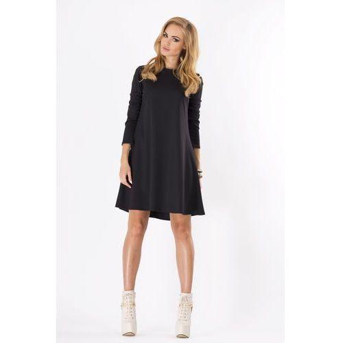 Czarna Luźna Sukienka Midi z Długim Rękawem