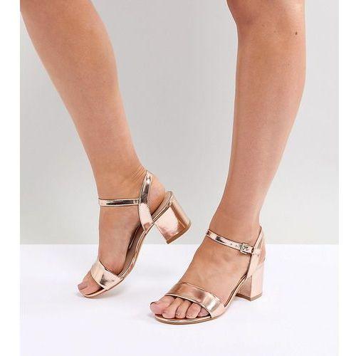 London Rebel Wide Fit Block Heeled Sandals - Gold