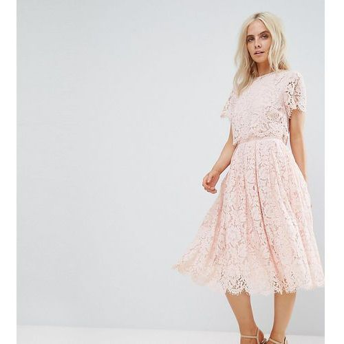 ASOS PETITE Lace Crop Top Midi Prom Dress - Pink, kolor różowy