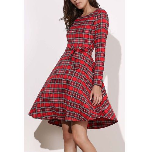 Round Neck Long Sleeve Plaid Self-Tie Dress For Women