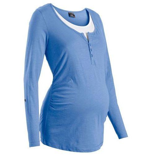 Shirt ciążowy i do karmienia, długi wywijany rękaw niebieski kryształowy, Bonprix, 48-54