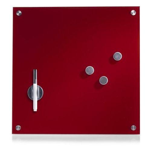 Szklana tablica magnetyczna MEMO, czerwona + 3 magnesy, 40x40 cm, ZELLER (4003368116044)