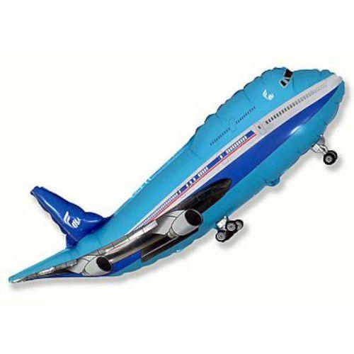 Twojestroje.pl Balon foliowy samolot niebieski 24'' 1szt (8435102308655)