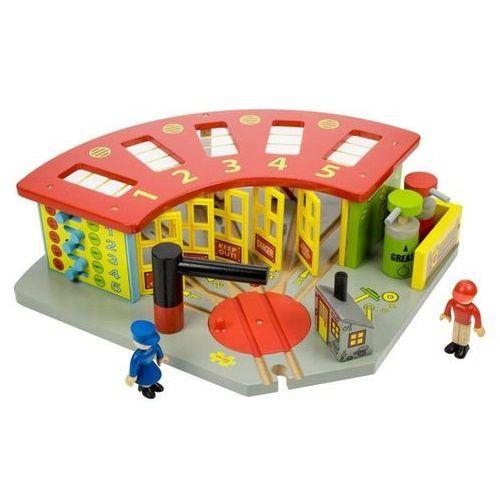 Bigjigs toys Parowozownia dla 5 lokomotyw do zabawy, wyposażenie kolejek drewnianych bigjigs