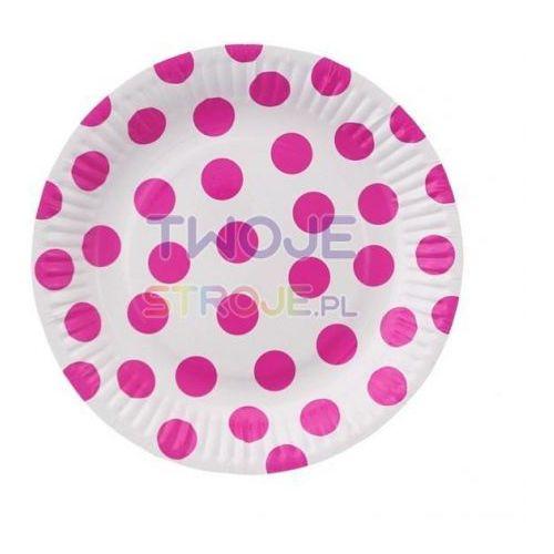 Talerzyki papierowe małe Grochy różowe