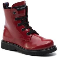 Kozaki TOMMY HILFIGER - Lace-Up Bootie T4A5-30445-0765 M Red 300