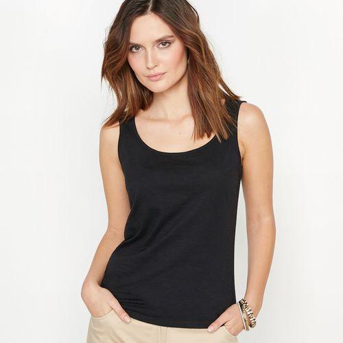 Koszulka bez rękawów z czystej, flamowanej bawełny, Anne weyburn