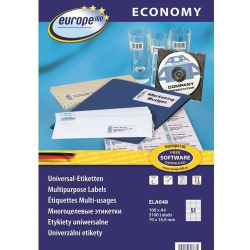 Etykiety uniwersalne Economy Europe100 ELA048, 70x16,9mm