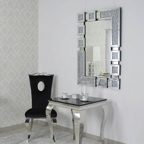 Srebrne lustro glamour prostokątne 80x120 cm M-0516 (5908273396415)