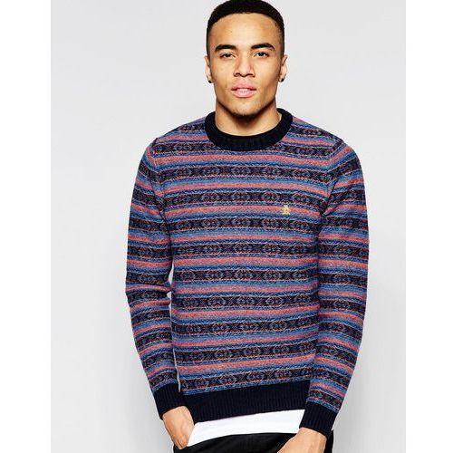 striped wool knitted jumper - blue marki Original penguin