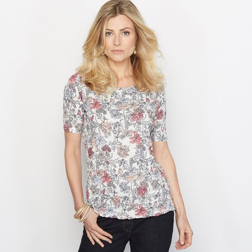 T-shirt wykonany z ozdobnie marszczonego dżerseju z nadrukiem, ANNE WEYBURN