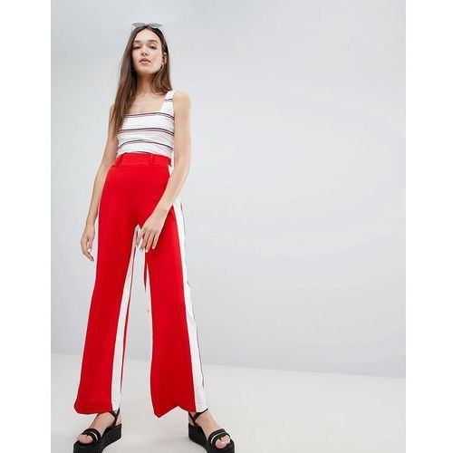 Bershka wide leg trouser with side stripe in red - red