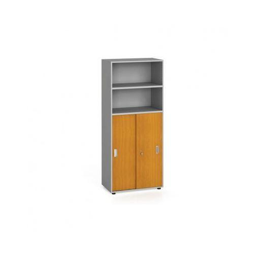 Szafa biurowa, przesuwne drzwi na 3 półki, 1781x800x420 mm, czereśnia