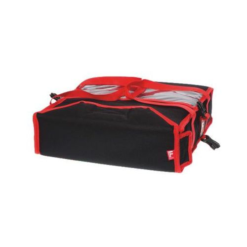 Furmis Torba wykonana z kodury na 2 kartony do pizzy o wymiarach 600x600 mm, czarna z czerwoną lamówką   , t2xxl