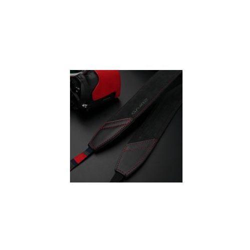 Gariz Pasek 150cm wykonany z alkantary w kolorze ciemno szarym z czerwonymi szwami