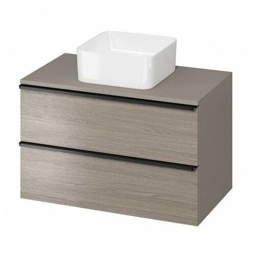 szafka virgo 80 dąb szary pod umywalkę nablatową, czarne uchwyty s522-031 marki Cersanit