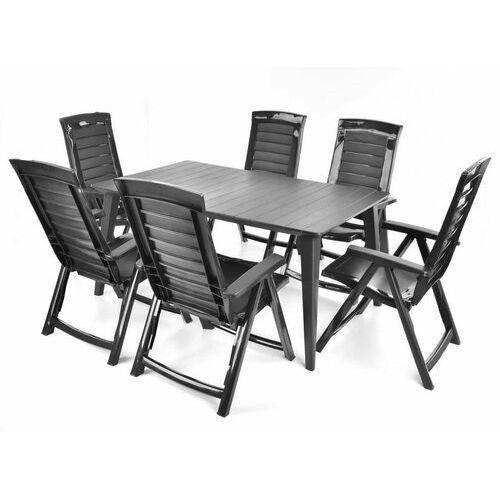 Hecht czechy Hecht jardin graphite 6 meble ogrodowe zestaw mebli ogrodowych stół + 6 krzeseł - ewimax oficjalny dystrybutor - autoryzowany dealer hecht (8595614928656)