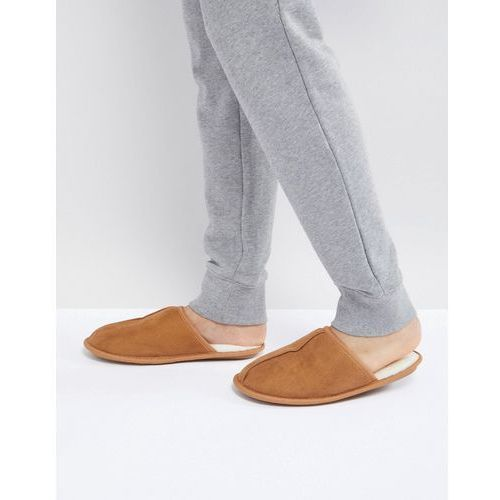slip on slippers with borg lining in tan - tan, River island