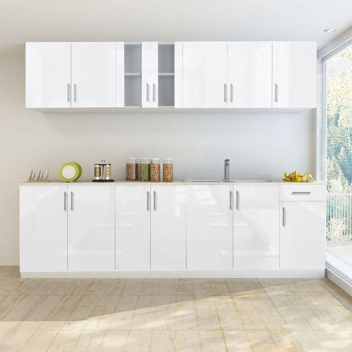 Vidaxl meble kuchenne białe na wysoki połysk 8 elementów (260 cm) (8718475910121)