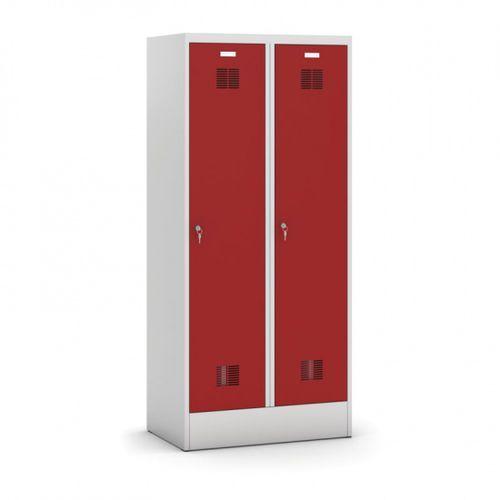 Metalowa szafka ubraniowa z przegrodą, czerwone drzwi, zamek cylindryczny, demontowana marki Kovona