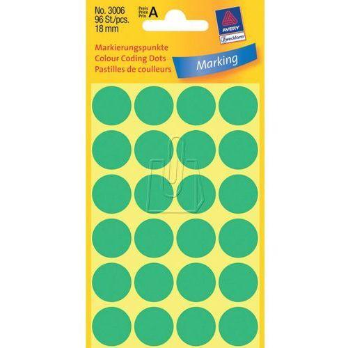 Etykiety zielone kółka do zaznaczania 18mm Avery Zweckform 3006