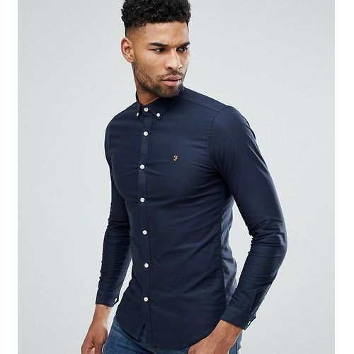 tall skinny fit button down oxford shirt in navy - navy marki Farah
