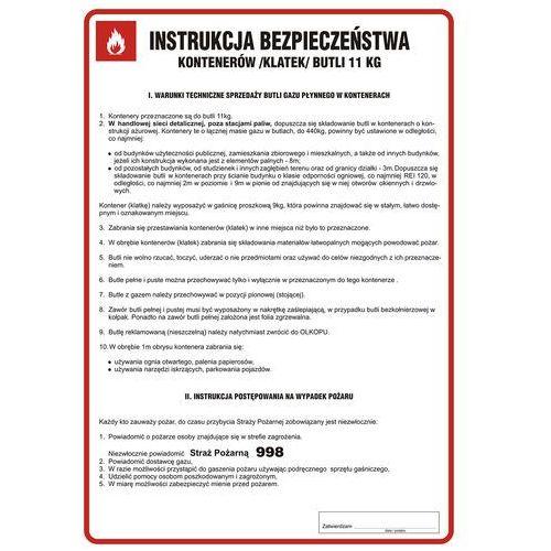 Instrukcja bezpieczeństwa kontenerów (klatek) butli 11 kg marki Top design
