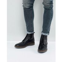 Base London Hurst Leather Brogue Boots In Black - Black