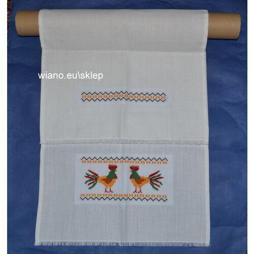 Twórczyni ludowa Ręcznik ozdobny haftowany, zakładany na drążek, dł. 92 cm, szer. 40 cm (bw)