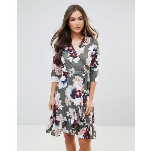 QED London Wrap Floral Midi Dress With Ruffle - Green